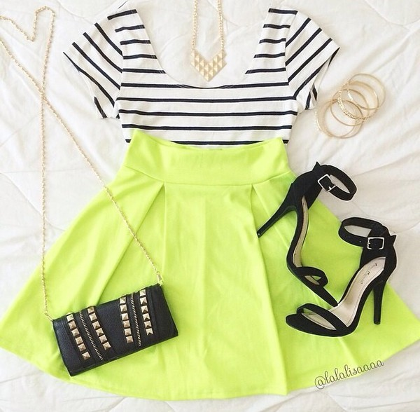 skirt top shoes heels purse tights pantyhose skirts and tops skater skirt crop tops crop tops shirt stripes striped top white crop tops neon short skirt