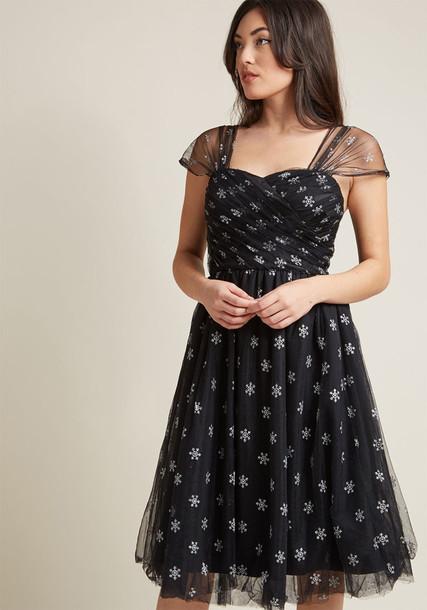 4772 dress black dress bunny snowflake silver black