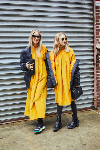 dress tumblr orange dress orange maxi dress long dress midi dress jacket black jacket tights opaque tights boots black boots biker boots bag black bag sneakers sunglasses nyfw 2017 fashion week 2017 fashion week streetstyle
