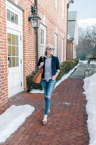 lemon stripes blogger jacket t-shirt jeans bag jewels blazer winter outfits