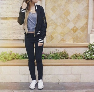 jacket baseball jacket black and white teenagers pants