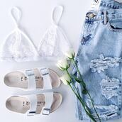 shoes,white,cute,sandals,shorts,jeans,underwear,bralette,beach shoes,white shoes,top,bra,see through,white bra,bead bra,white bead bra,flip-flops,grey,purple,yellow,hipster,pale,style,skirt,skinny jeans,bag,purse,stuff,stylish,stylist,beach,light jeans,casual,flat sandals