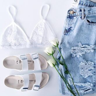 shoes white cute sandals shorts jeans underwear bralette beach shoes white shoes top bra flip-flops grey purple yellow hipster pale style skirt skinny jeans bag purse stuff stylish stylist beach light jeans
