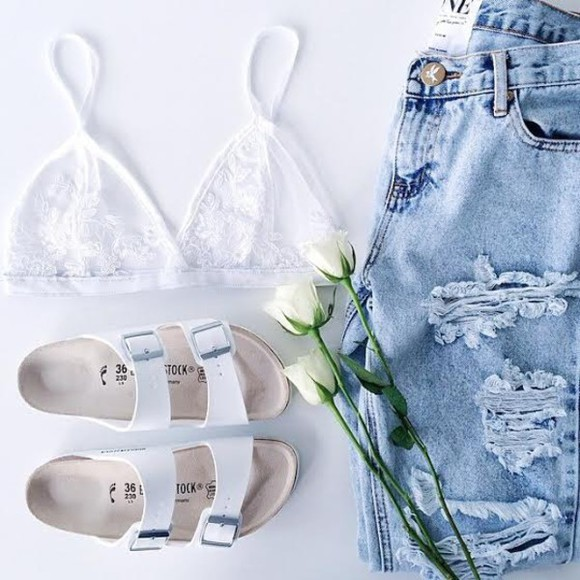 jeans skinny jeans shoes sandals style flip-flops grey purple yellow goth hipster pale skirt bag purse stuff stylish stylist cute white simple shorts underwear bralette white shoes jeans women girls clothing fashion denim ripped top bra shoes shoe