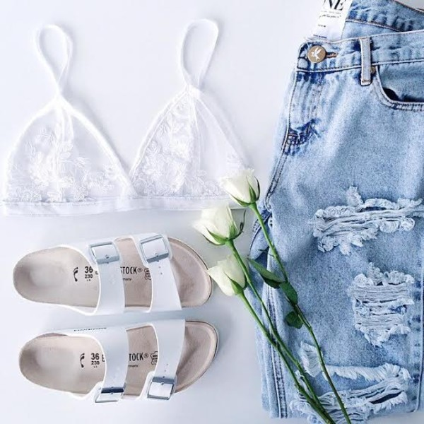 shoes white cute sandals shorts jeans underwear bralette beach shoes white shoes top bra see through white bra bead bra white bead bra shoes flip-flops grey grey purple yellow hipster pale style skirt skinny jeans bag purse stuff stylish stylist beach light jeans casual flat sandals