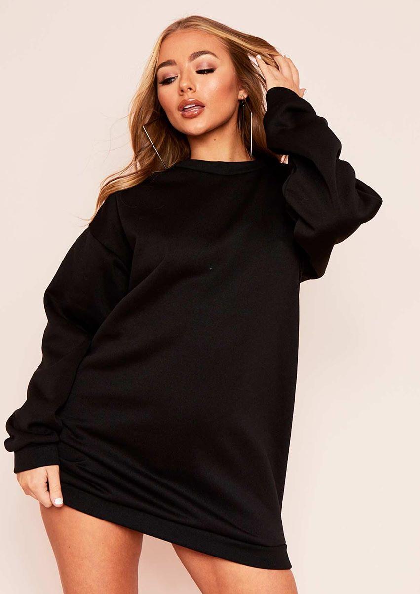 Ismay Black Oversized Sweater Dress