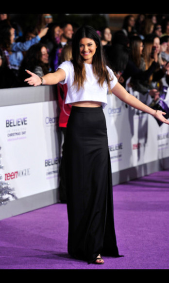 black skirt white crop tops kylie jenner