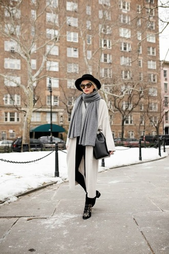 atlantic pacific blogger long coat grey scarf susanna boots chloe hat black hat coat grey coat sunglasses tortoise shell sunglasses tortoise shell scarf bag bucket bag black bag winter outfits winter look ankle boots