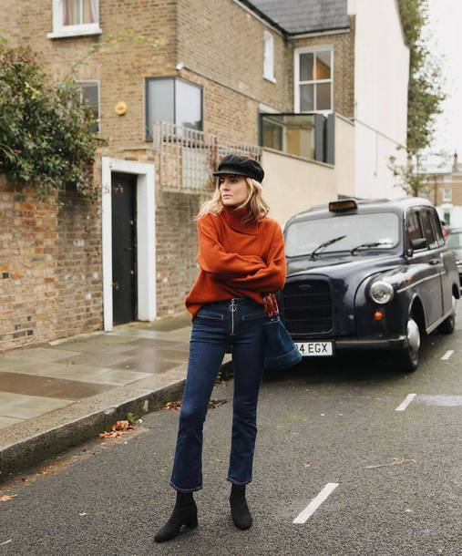 sweater tumblr brown sweater sweater weather turtleneck knit knitwear knitted sweater fisherman cap denim jeans blue jeans cropped jeans boots black boots