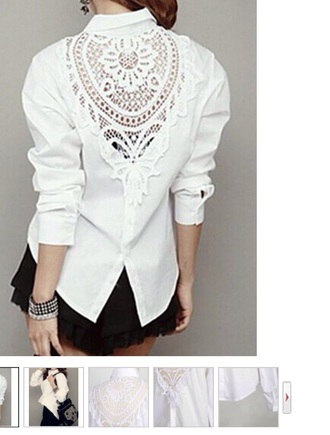 blouse white collared collar lace long sleeve eknow length back split slit cuffed cuff cuffed sleeve fashion