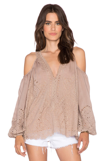 Love Sam top embroidered tan