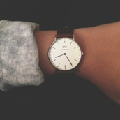 jewels,clock,fashion,inspiration,love,daniel wellington,watch,brown leather,leather watch,classic,dw,vintage,armcandy,scarf