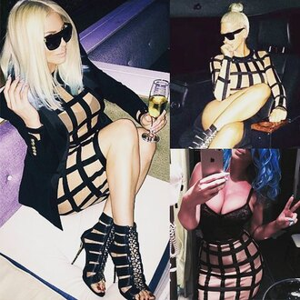 dress mischievous socialite mesh dress two-piece balmain blonde hair