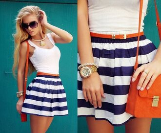 skirt stripes navy white striped skirt high waisted skirt blue sailor dress purse sunglasses girl outfit beautiful summer necklace watch bracelets blue and white striped striped belt
