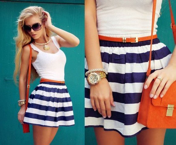 skirt blue and white striped stripes navy white striped skirt high waisted skirt blue sailor dress summer purse sunglasses girl outfit beautiful necklace watch bracelet bracelets stripes, striped, skirt, navy, white