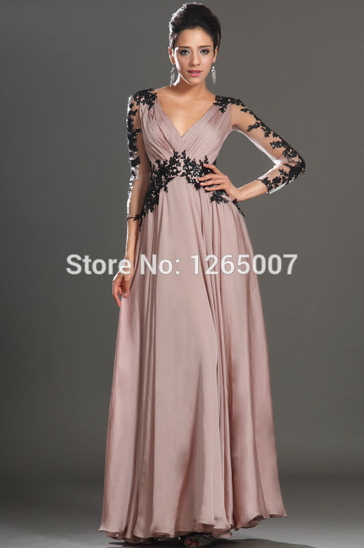 Aliexpress.com : Buy Deep V Neck Golden Embellishment Long Sleeves Purple Elegant Kaftan Evening Dresses New Fashion Caftan from Reliable dresses retro suppliers on SFBridal