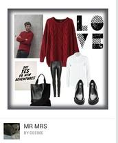 sweater,oversized sweater,red jumper,leggings,black pants,black shoes,leather bag,blouse
