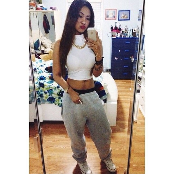 tank top chillen sweatpants crop tops dope converse blouse