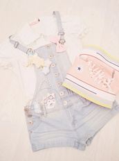 shoes,converse pink,shorts,cute,platform sneakers,short overalls,white blouse,overalls,kawaii,jumpsuit,denim,fairykei,pastel,faded,light,fashion,converse,pink,lovely,platform shoes,pastel sneakers,sneakers,colorful,aesthetic,tumblr,girl,yellow coat,blue