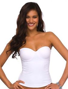 Qt unlined secondskin white strapless convertible underwire bustier bra 1158