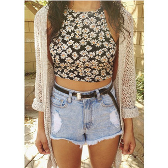 blouse floral blouse belt cardigan top denim shorts