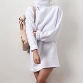 dress,white,turtleneck,winter outfits,cute,cozy,turtleneck sweater,oversized turtleneck sweater,turtleneck dress
