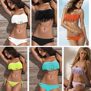 Sexy 6 colours 2pcs strapless padded fringe bra ladies bikini swimwear set 8088