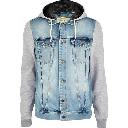 wash jersey sleeve denim jacket - denim jackets - coats / jackets