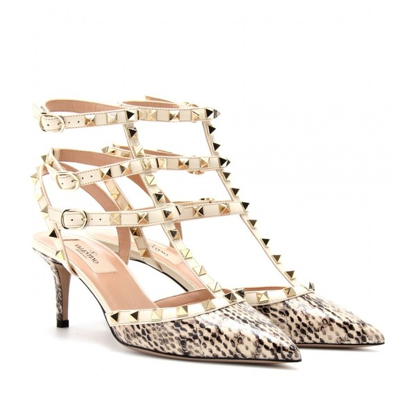 Valentino Rockstud Snakeskin And Leather Kitten Heel Pumps - Polyvore