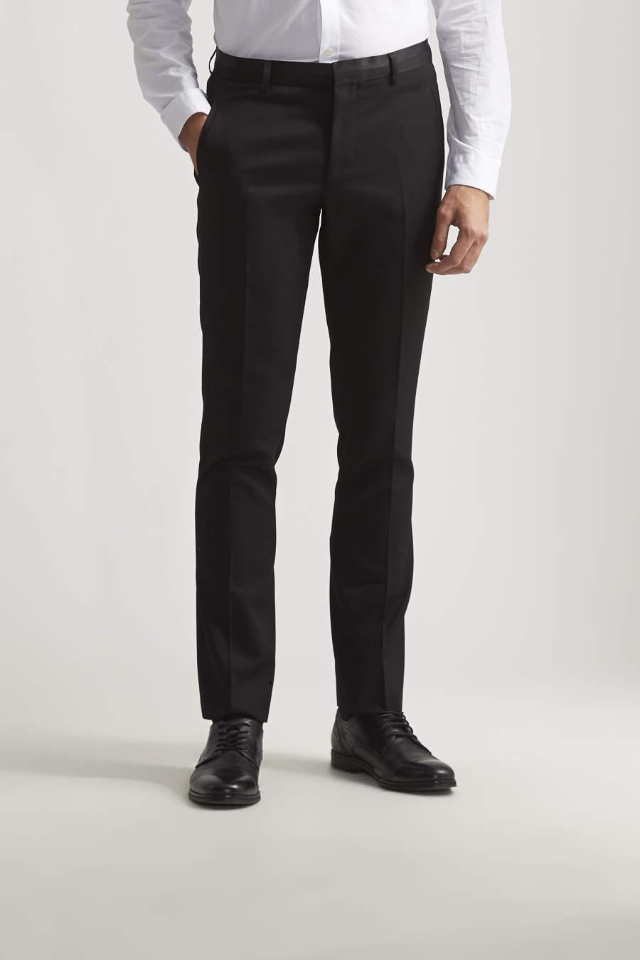 Slim black tuxedo pant