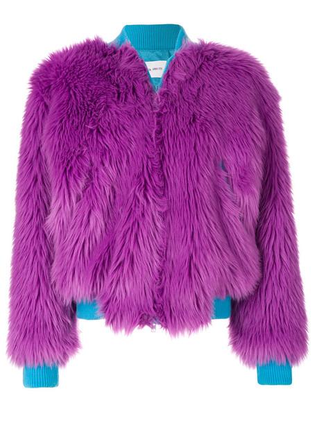 Alberta Ferretti jacket bomber jacket fur faux fur women wool purple pink