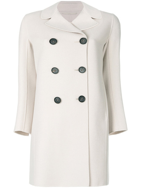 'S Max Mara coat double breasted women nude silk wool