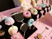 jewels,sweets,pastel,cute,bracelets,donut,oreo,jewelry,pink bow,dounut,food,fashion,bracelet chains