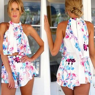 romper mischievous socialite loose fit pleats halter top floral bikini