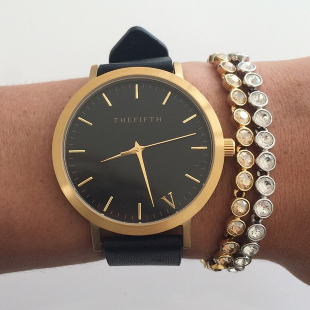 jewels watch black strap the fifth