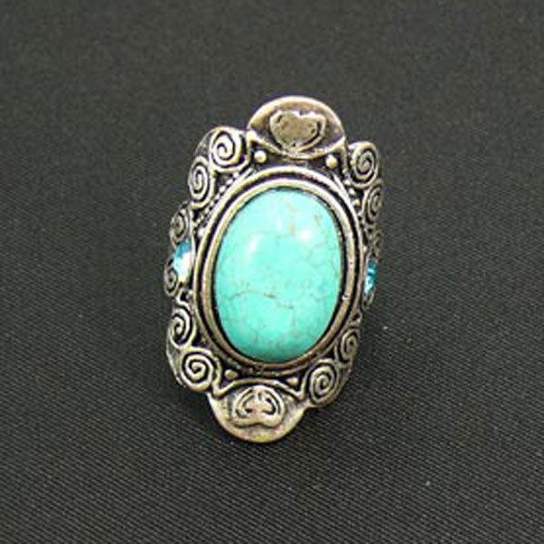Bague métal et pierre turquoise - SOLYLUNA BIJOUX