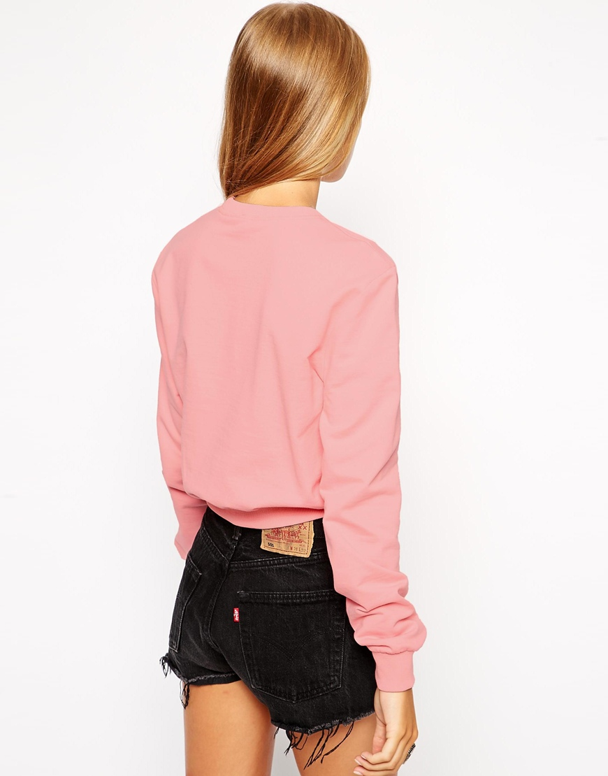 ASOS Cropped Boyfriend Sweatshirt with Cute Deer Print at asos.com