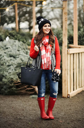 dress corilynn,blogger,sweater,jacket,jeans,shoes,hat,gloves,bag,scarf,beanie,vest,wellies,red boots,red sweater,winter outfits