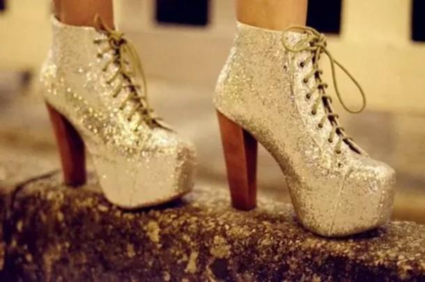 shoes glitter gold heels platform lace up boots