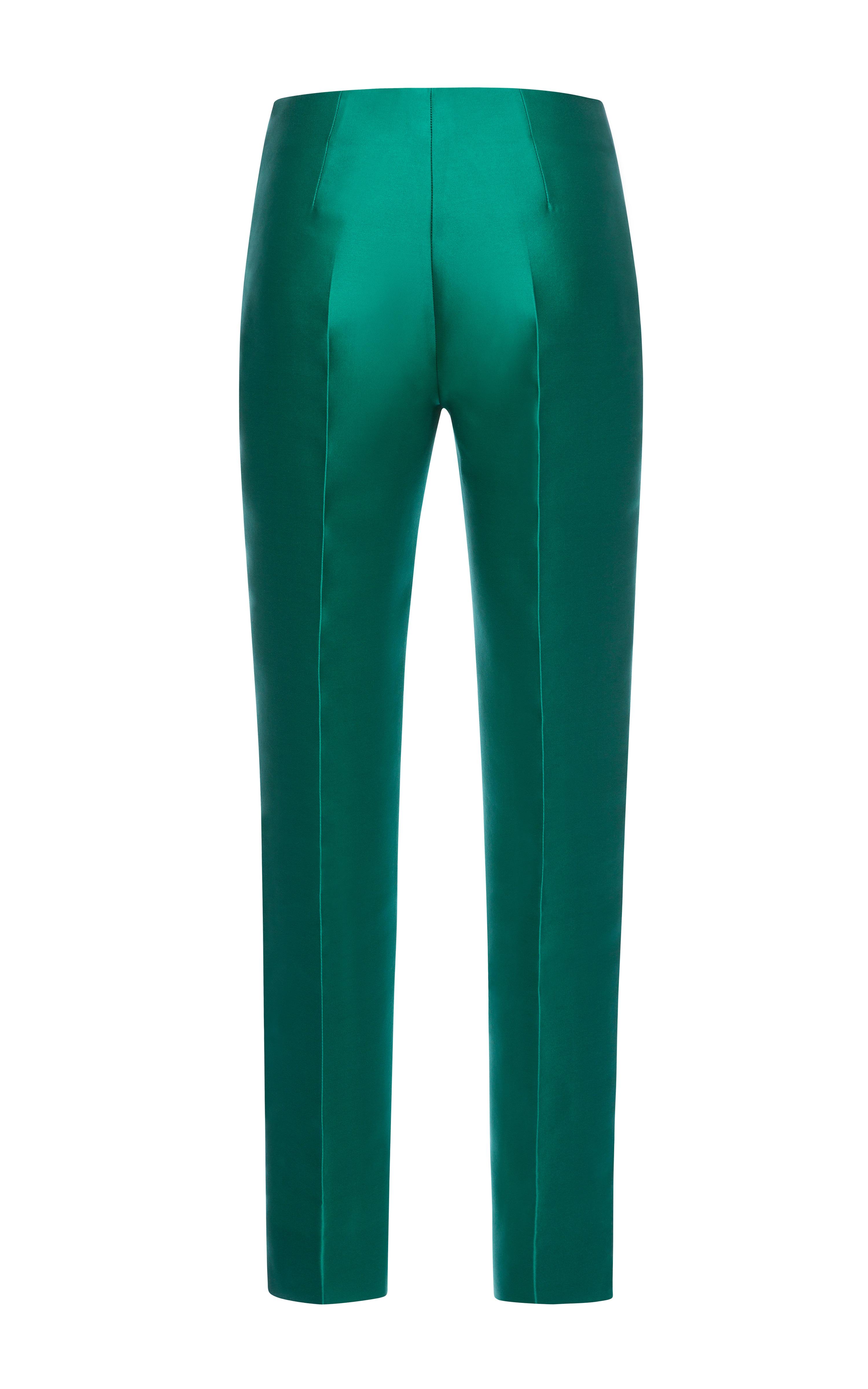Emerald silk scuba trousers by antonio berardi