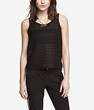 SHEER STRIPE BOXY TANK | Express