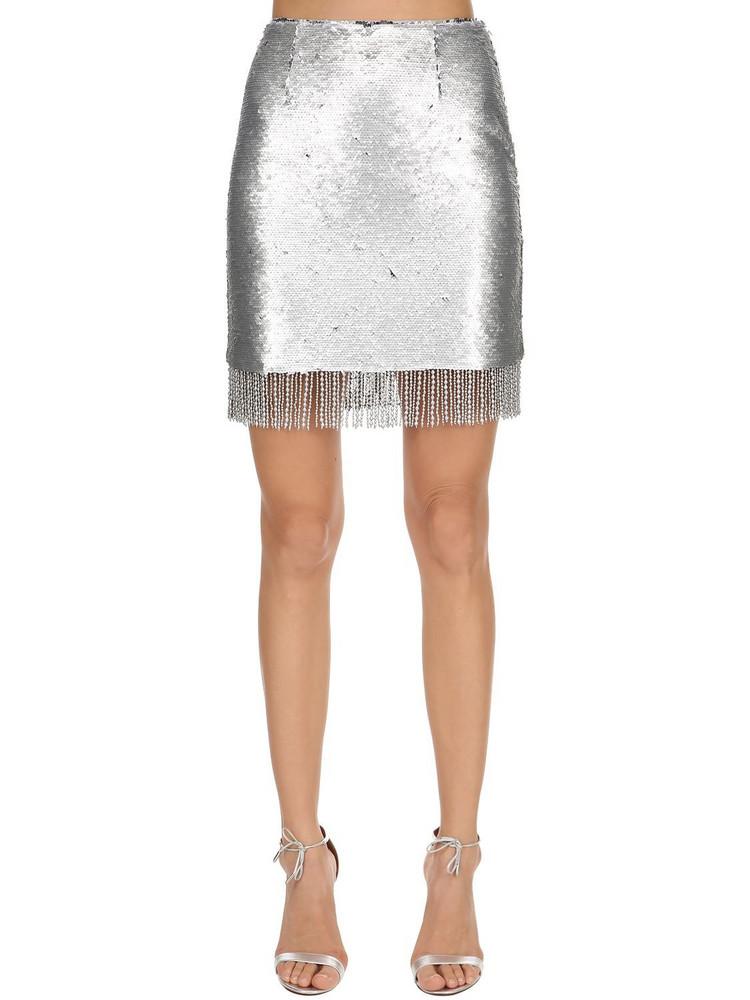 VIVETTA Sequined Mini Skirt W/ Fringe in silver
