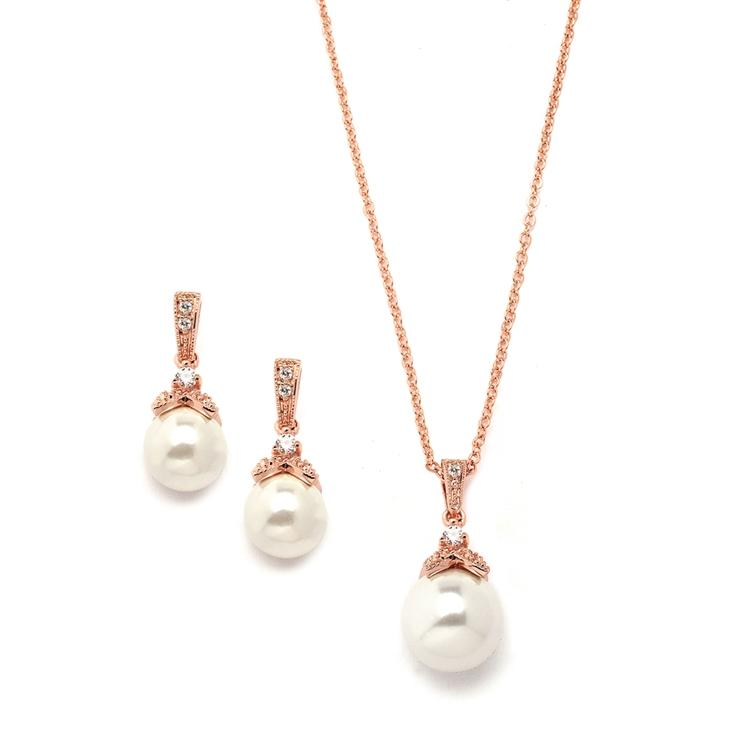 Rose Gold Bridal Earrings and Necklace Set