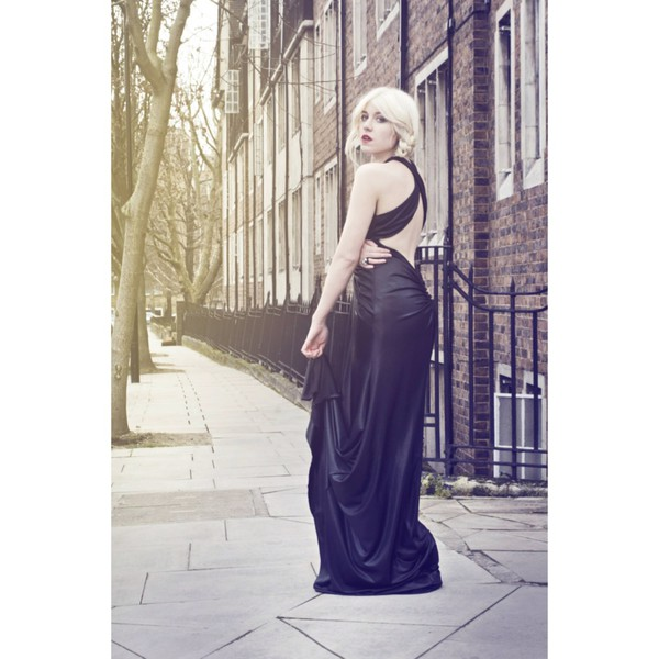 black dress maxi designer chic jersey style stylists brands yan neo london london style london look little black dress liquid jersey model black