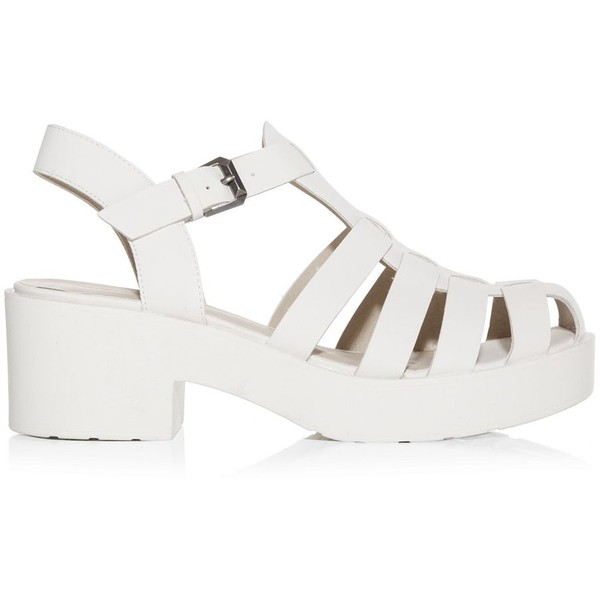 White Caged Chunky Block Heel Sandals - Polyvore