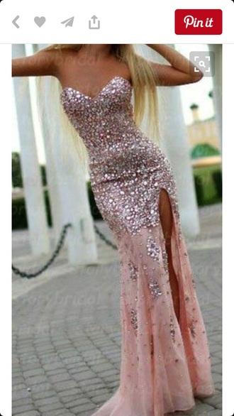 dress rhinstones sweetheart neckline leg slit prom dress long prom dress