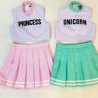 dress tumblr princess unicorn pink pastel mint cheerleading skirt