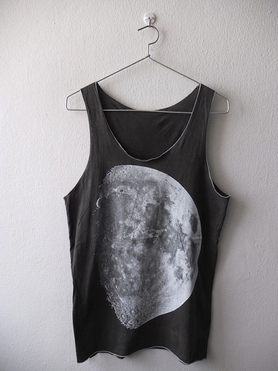 Full moon dyed smoke gray Space stars Tank Top by Badconceptual