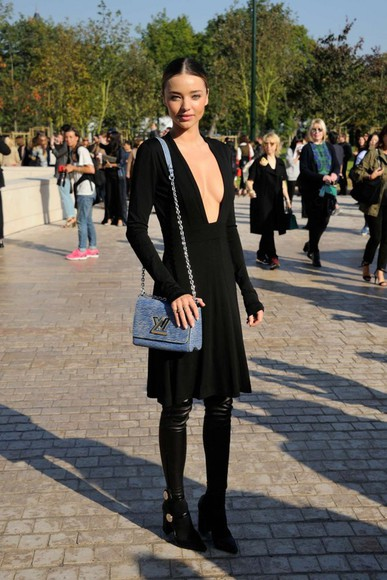 miranda kerr dress fashion week 2014 little black dress streetstyle