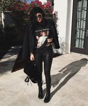 leggings,pants,grunge,instagram,jacket,t-shirt,sunglasses,marilyn manson,rock,black,all black everything,chic,street,style,leather,boots,bag,suede,glasses,shades,punk,red,manson,backpack,kylie jenner,streetstyle,streetwear,suede backpack